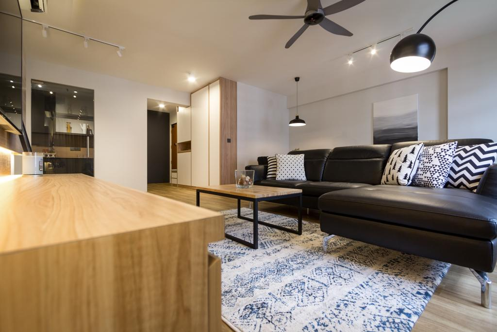 Scandinavian, HDB, Living Room, Choa Chu Kang (Block 812B), Interior Designer, Fineline Design, Modern, Couch, Furniture