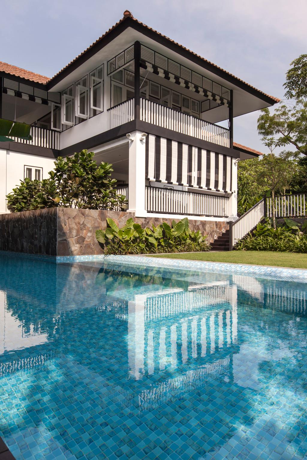 Traditional, Landed, Maryland Drive, Architect, Aamer Architects, Pool, Water, Building, Hotel, Resort, Swimming Pool, Backyard, Outdoors, Yard, Bonsai, Flora, Jar, Plant, Potted Plant, Pottery, Tree, Vase