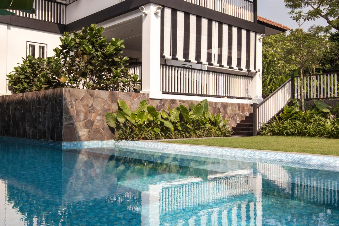 Maryland Drive, Aamer Architects, Traditional, Landed, Pool, Water, Building, Hotel, Resort, Swimming Pool, Backyard, Outdoors, Yard, Bonsai, Flora, Jar, Plant, Potted Plant, Pottery, Tree, Vase
