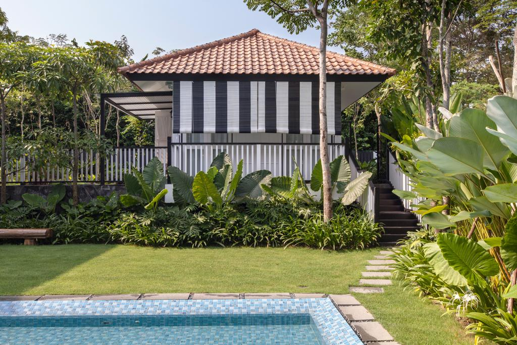 Traditional, Landed, Maryland Drive, Architect, Aamer Architects, Gazebo, Patio, Pergola, Porch, Building, House, Housing, Villa, Backyard, Outdoors, Yard