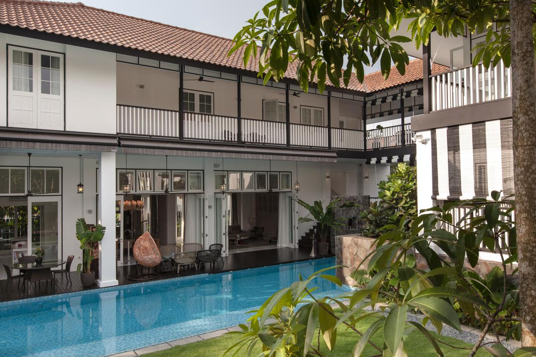 Maryland Drive, Aamer Architects, Traditional, Landed, Flora, Jar, Plant, Potted Plant, Pottery, Vase, Building, House, Housing, Villa, Pool, Water, Fence, Picket