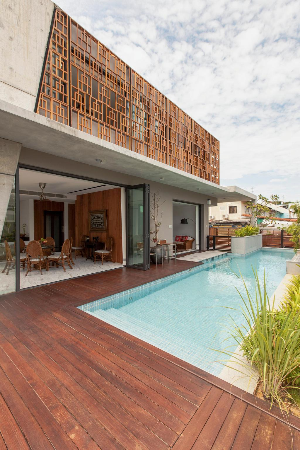 Contemporary, Landed, Siglap Plain, Architect, Aamer Architects, Building, House, Housing, Villa, Hotel, Pool, Resort, Swimming Pool, Water, Flora, Jar, Plant, Potted Plant, Pottery, Vase, Dining Table, Furniture, Table