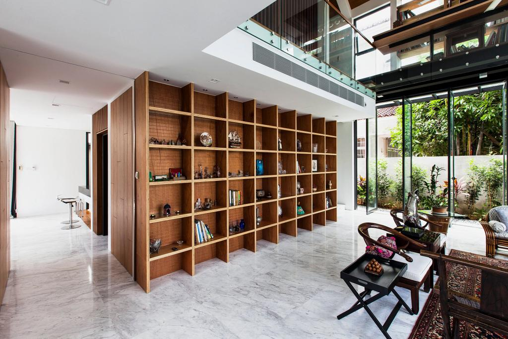 Contemporary, Landed, Dining Room, Siglap Plain, Architect, Aamer Architects, Flora, Jar, Plant, Potted Plant, Pottery, Vase, Bookcase, Furniture, Window, Bamboo, HDB, Building, Housing, Indoors, Loft