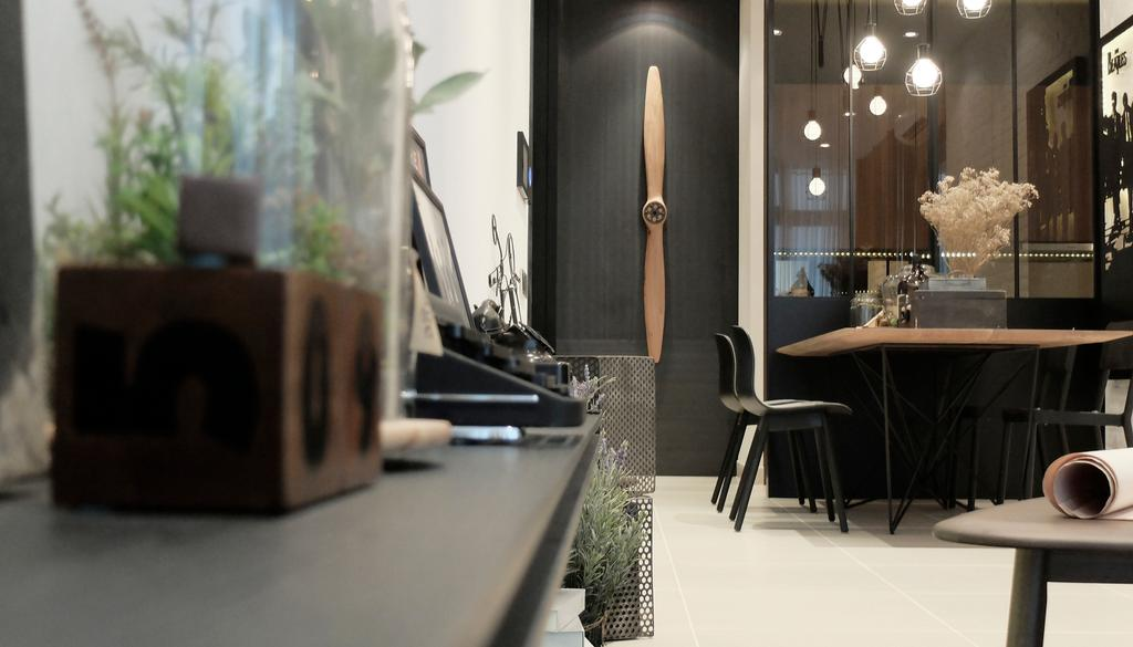 Contemporary, Condo, Living Room, Green Haven Show Suite A, Malaysia, Architect, 0932 Design Consultants, Hallway, Tv Console, Speaker, Dining Area, Flora, Jar, Plant, Potted Plant, Pottery, Vase, Dining Table, Furniture, Table, Chair, Dining Room, Indoors, Interior Design, Room