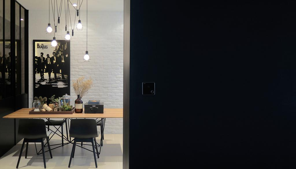 Contemporary, Condo, Dining Room, Green Haven Show Suite A, Malaysia, Architect, 0932 Design Consultants, Hanging Light, Exposed Bulbs, Dining Table, Flower Decor, Wooden Table, Furniture, Table, Chair, Indoors, Interior Design, Room