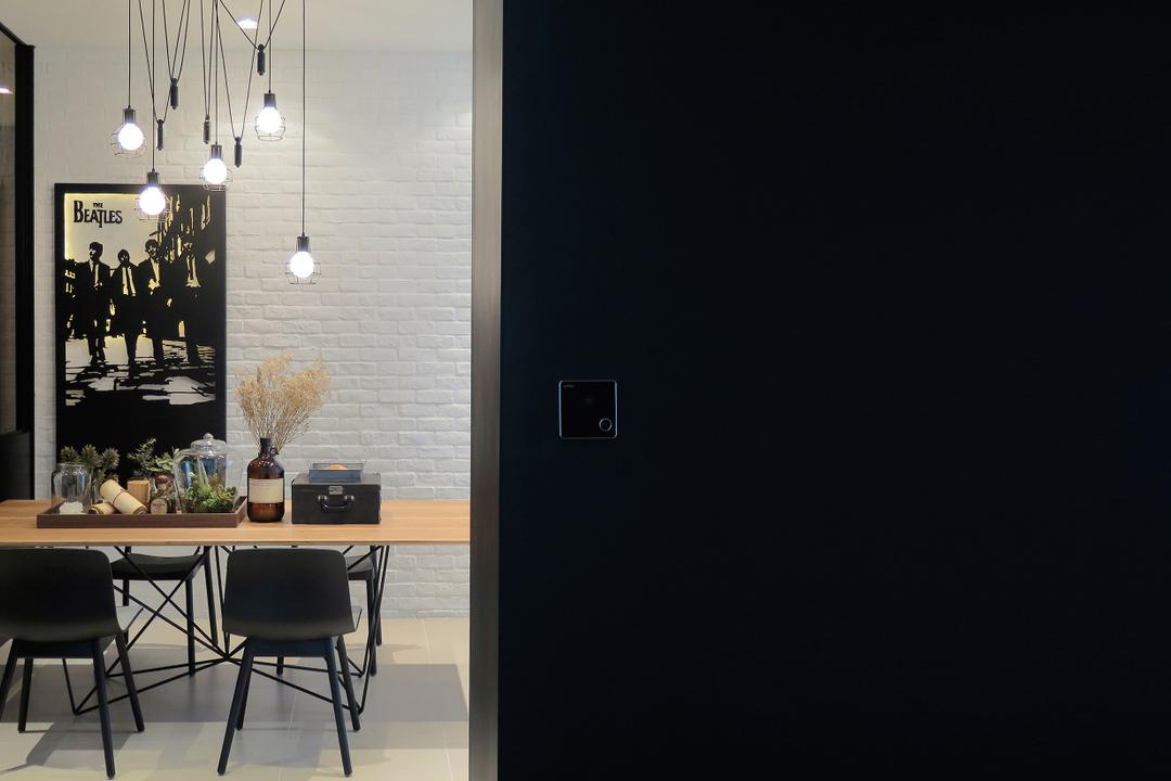 Green Haven Show Suite A, Malaysia, 0932 Design Consultants, Contemporary, Dining Room, Condo, Hanging Light, Exposed Bulbs, Dining Table, Flower Decor, Wooden Table, Furniture, Table, Chair, Indoors, Interior Design, Room
