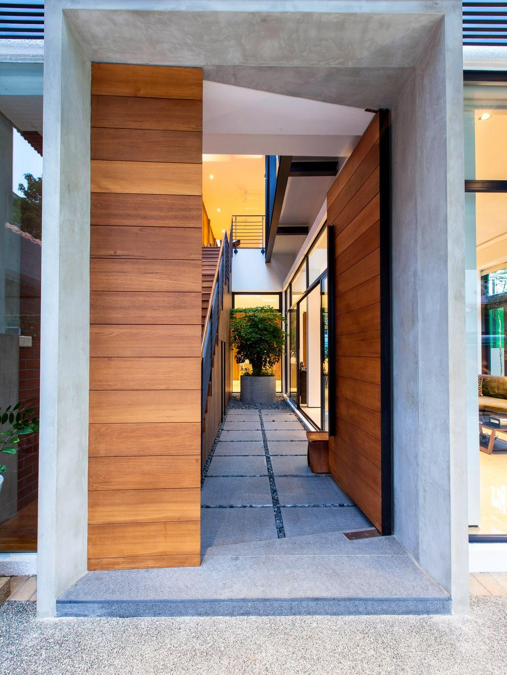 Contemporary, Landed, Jalan Remis, Architect, Aamer Architects, Flora, Jar, Plant, Potted Plant, Pottery, Vase, Banister, Handrail, Staircase, Building, House, Housing, Villa