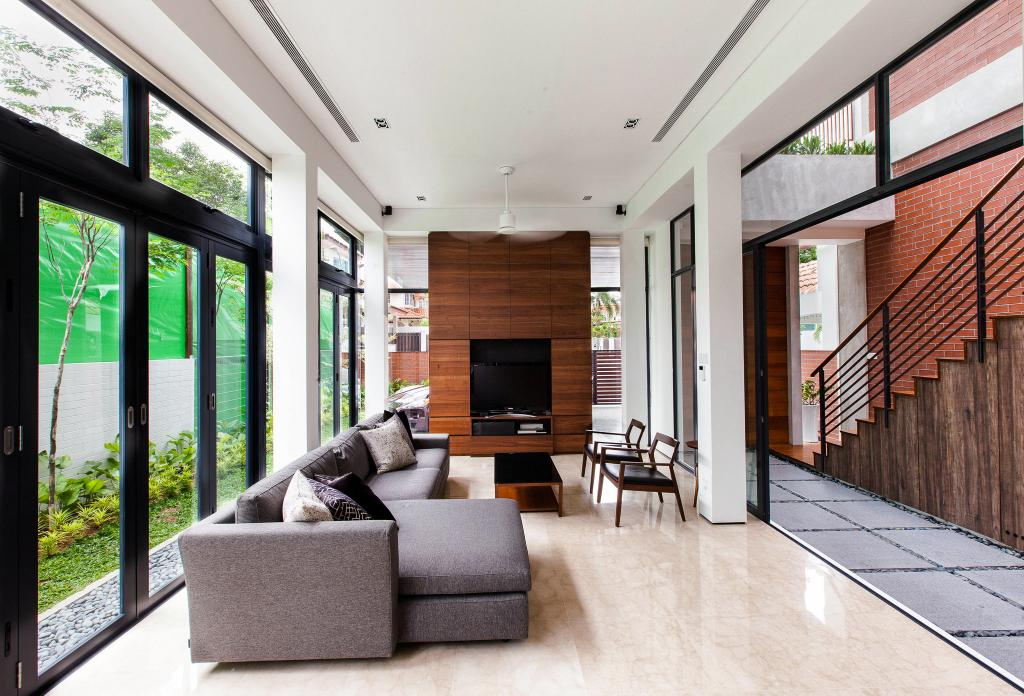 Contemporary, Landed, Living Room, Jalan Remis, Architect, Aamer Architects, Furniture, Electronics, Entertainment Center, Home Theater