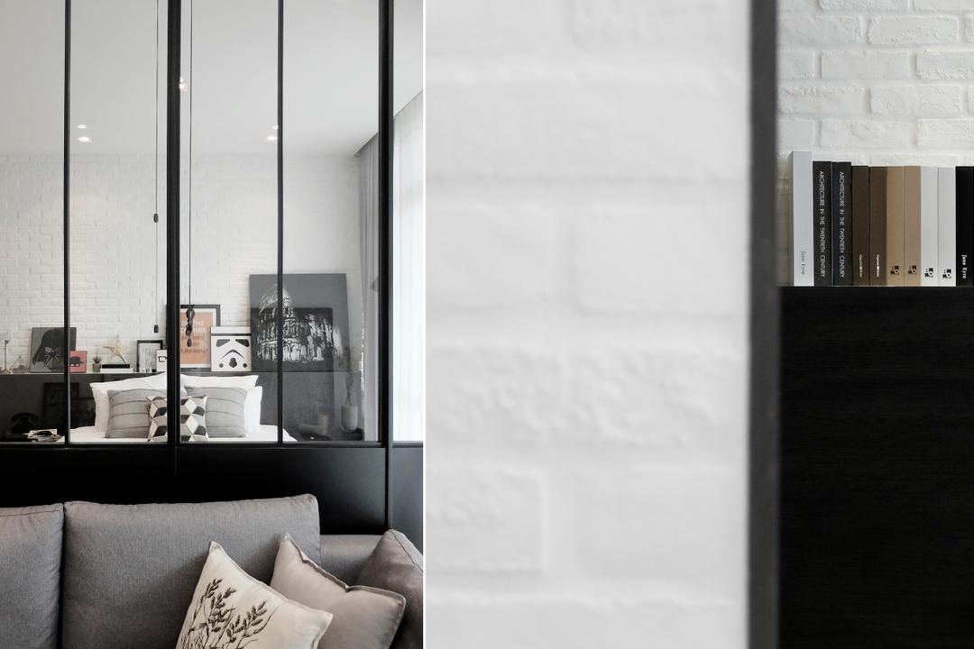 Green Haven Show Suite A, Malaysia, 0932 Design Consultants, Contemporary, Living Room, Condo, Divider, Foldable Divider, Brick Wall, Sofa, Cushions, Grey, Gray