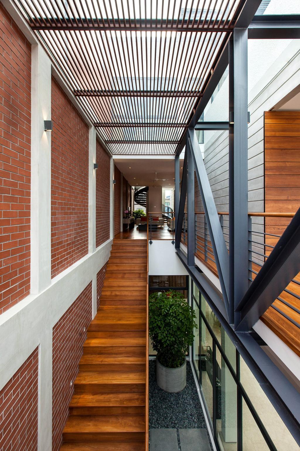 Contemporary, Landed, Jalan Remis, Architect, Aamer Architects, Railing, Porch, Building, House, Housing, Villa, HDB, Indoors, Loft