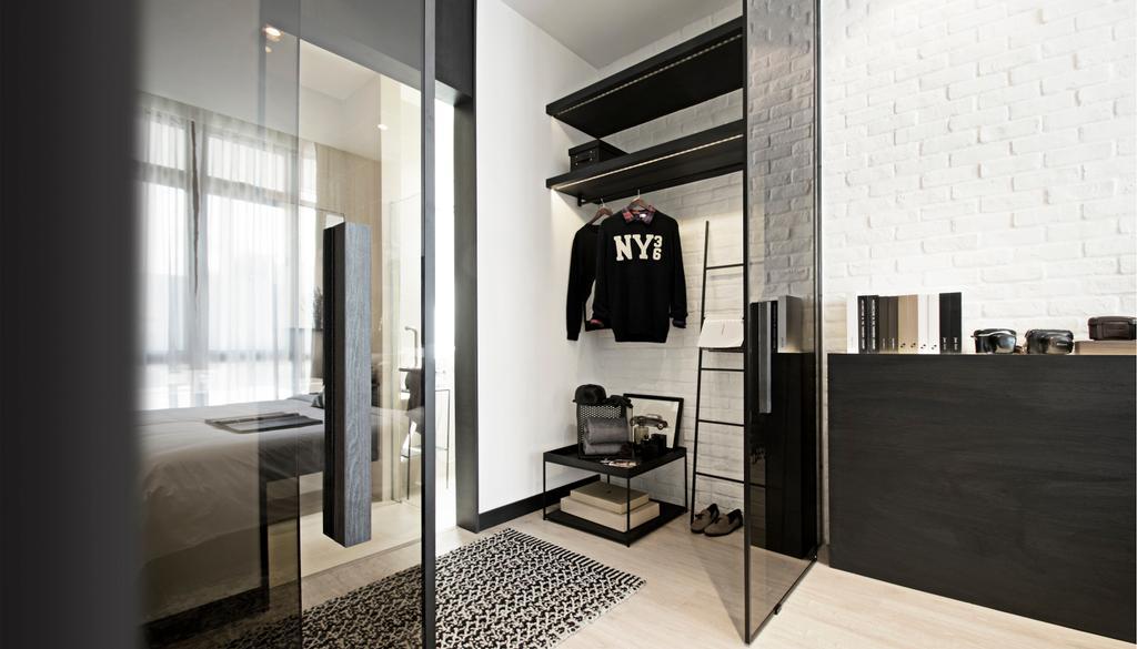 Contemporary, Condo, Bedroom, Green Haven Show Suite A, Malaysia, Architect, 0932 Design Consultants, Wardrobe, Dressing Area, Cloak Room, Modular, Wall Shelf, Brick Wall, Storage