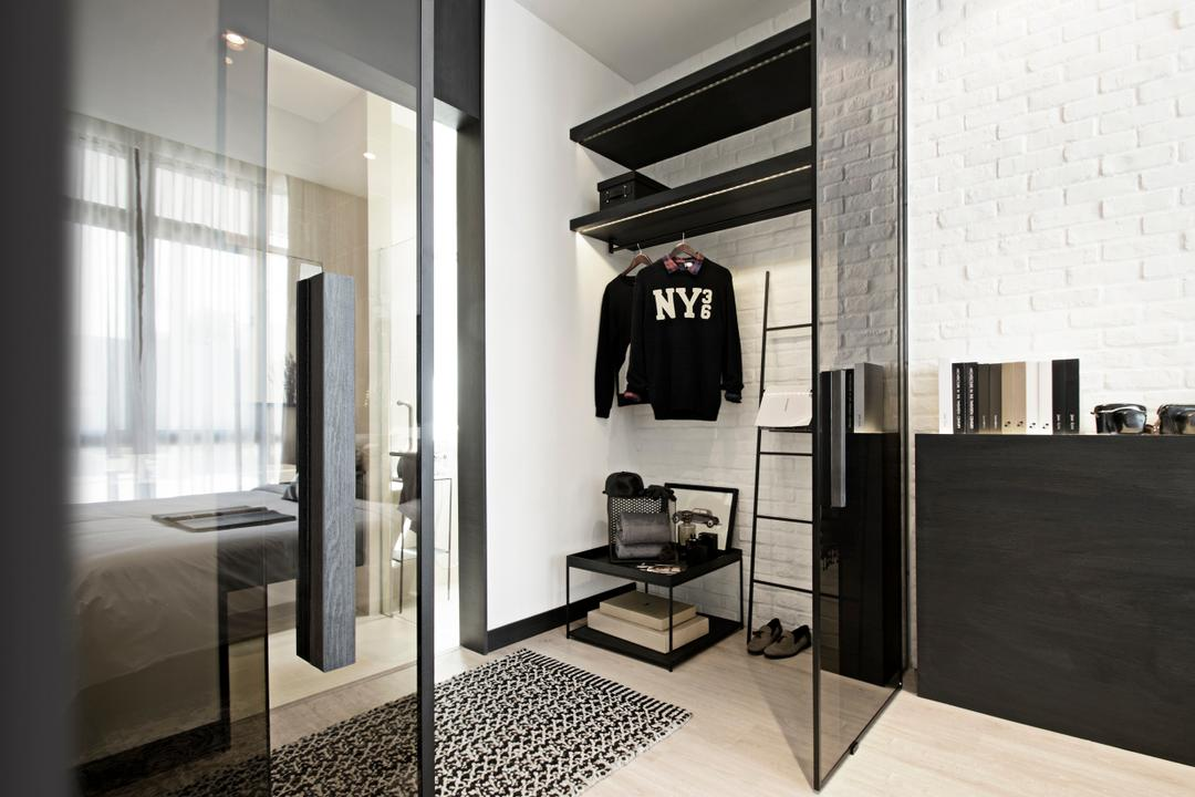 Green Haven Show Suite A, Malaysia, 0932 Design Consultants, Contemporary, Bedroom, Condo, Wardrobe, Dressing Area, Cloak Room, Modular, Wall Shelf, Brick Wall, Storage