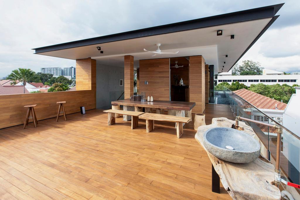Transitional, Landed, Balcony, Branksome Road, Architect, Aamer Architects, Wooden Deck, Timber Deck, Rustic, Open Air, Balinese, Indonesian Theme, Villa, Resort, Bali Resort, Roof, Bench, Hardwood, Wood, Deck, Porch, Dining Table, Furniture, Table, Patio, Door, Sliding Door