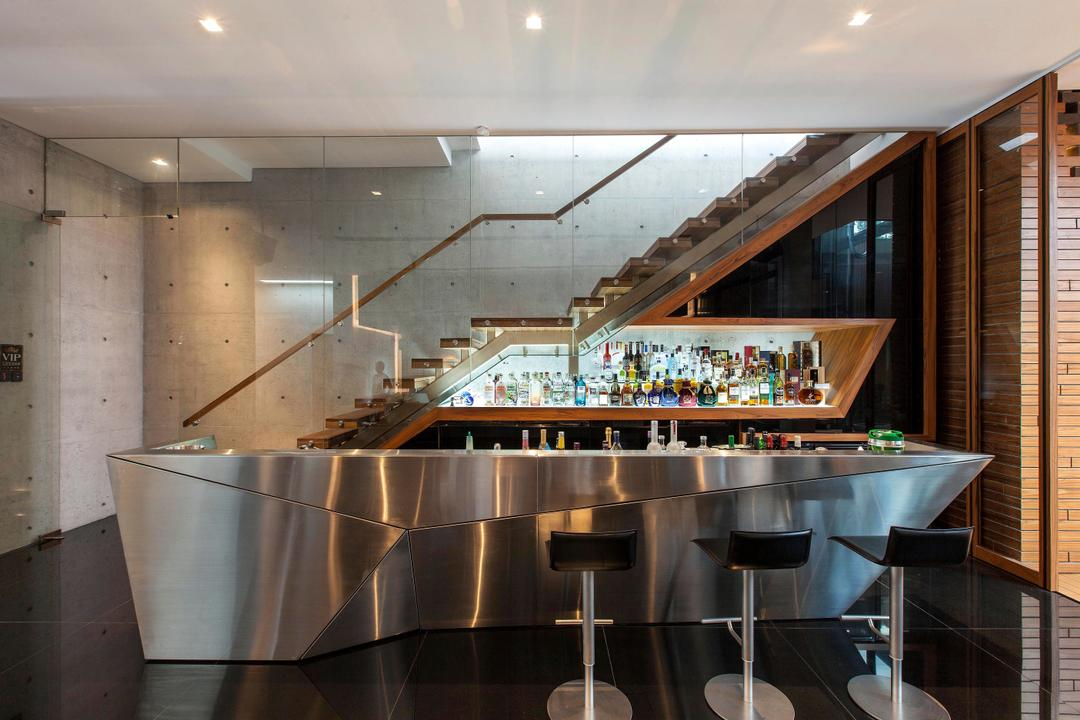 Branksome Road, Aamer Architects, Transitional, Living Room, Landed, Entertainment, Bar Counter, Bar, Chrome, Counter, Stainless Steel