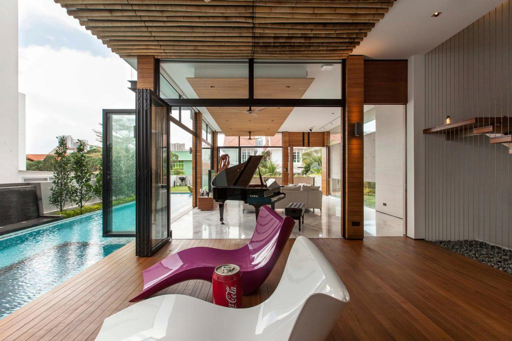Transitional, Landed, Branksome Road, Architect, Aamer Architects, Grand Piano, Leisure Activities, Music, Musical Instrument, Piano, Pool, Water, Indoors, Interior Design, Building, House, Housing, Villa