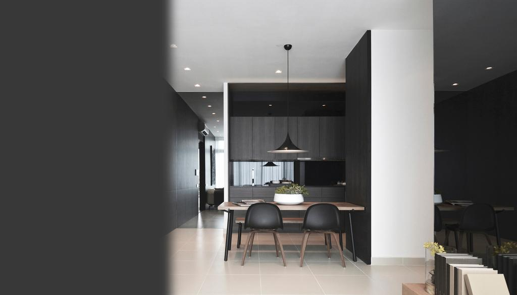 Contemporary, Condo, Dining Room, Green Haven Show Suite B, Malaysia, Architect, 0932 Design Consultants, Dining Chair, Black, Monotone, Monochrome, Hanging Lamp, Pendant Lamp, Apartment, Building, Housing, Indoors, Loft, Dining Table, Furniture, Table, Chair, Lighting