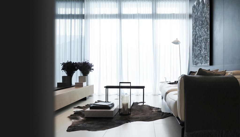 Contemporary, Condo, Living Room, Green Haven Show Suite B, Malaysia, Architect, 0932 Design Consultants, Cowhide, Rug, Curtain, Day Curtain, Sofa, Lamp, Floor Lamp, Coffee Table, Console, Flower, Hotel, Window, Hotel Theme, Showroom, Suite, Flora, Jar, Plant, Potted Plant, Pottery, Vase, Bedroom, Indoors, Interior Design, Room