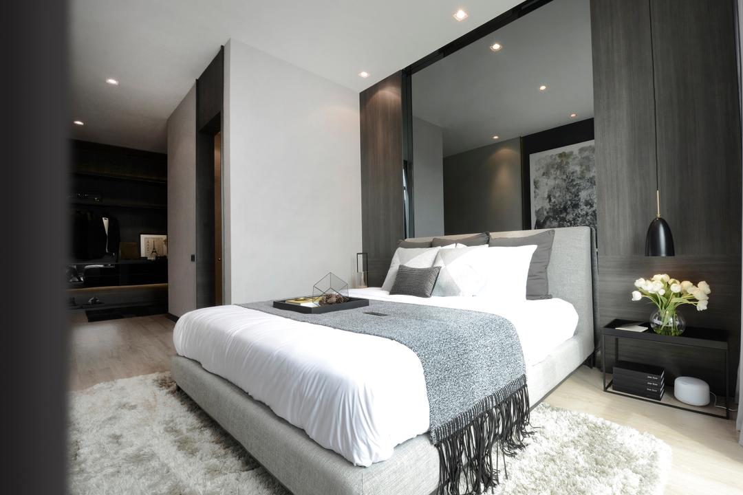 Green Haven Show Suite B, Malaysia, 0932 Design Consultants, Contemporary, Bedroom, Condo, Spotlight, Recessed Lighting, Bedside Table, Bedside Lamp, Bed, Duvet, Bed Runner, Mirror, Grey, Gray, Rug, Carpet, Cosy, Cozy, Monochrome, Flower, Indoors, Interior Design, Room