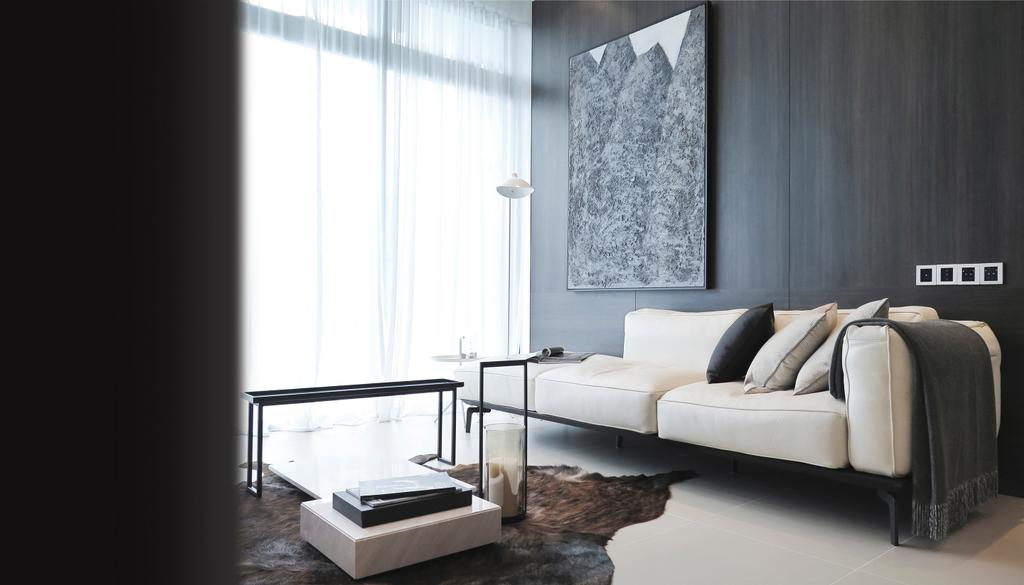 Contemporary, Condo, Living Room, Green Haven Show Suite B, Malaysia, Architect, 0932 Design Consultants, Coffee Table, Rug, Cowhide, Sofa, Quilt, Wall Art, Wood Panel, Cushions, Neutral, Hotel Theme, Hotel, Showroom, Cosy, Grey, Gray, Monochrome, Cozy, Dining Table, Furniture, Table, Indoors, Interior Design