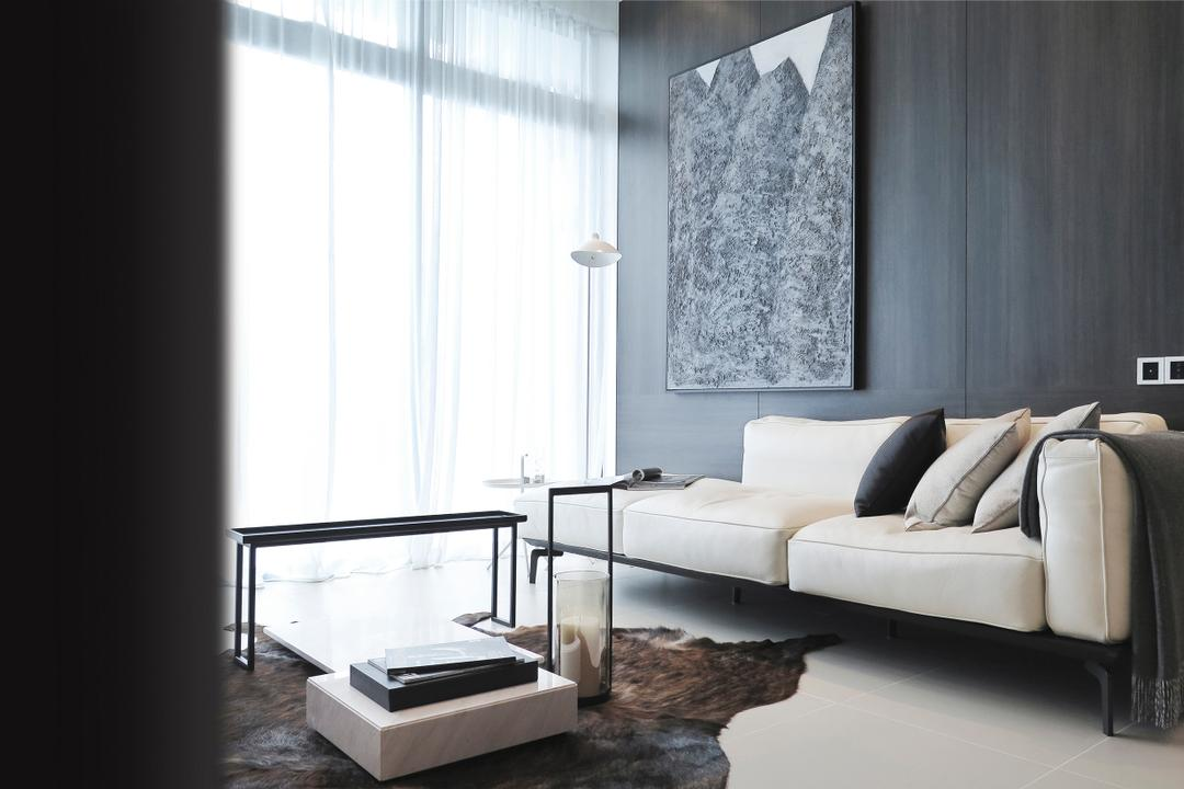 Green Haven Show Suite B, Malaysia, 0932 Design Consultants, Contemporary, Living Room, Condo, Coffee Table, Rug, Cowhide, Sofa, Quilt, Wall Art, Wood Panel, Cushions, Neutral, Hotel Theme, Hotel, Showroom, Cosy, Grey, Gray, Monochrome, Cozy, Dining Table, Furniture, Table, Indoors, Interior Design