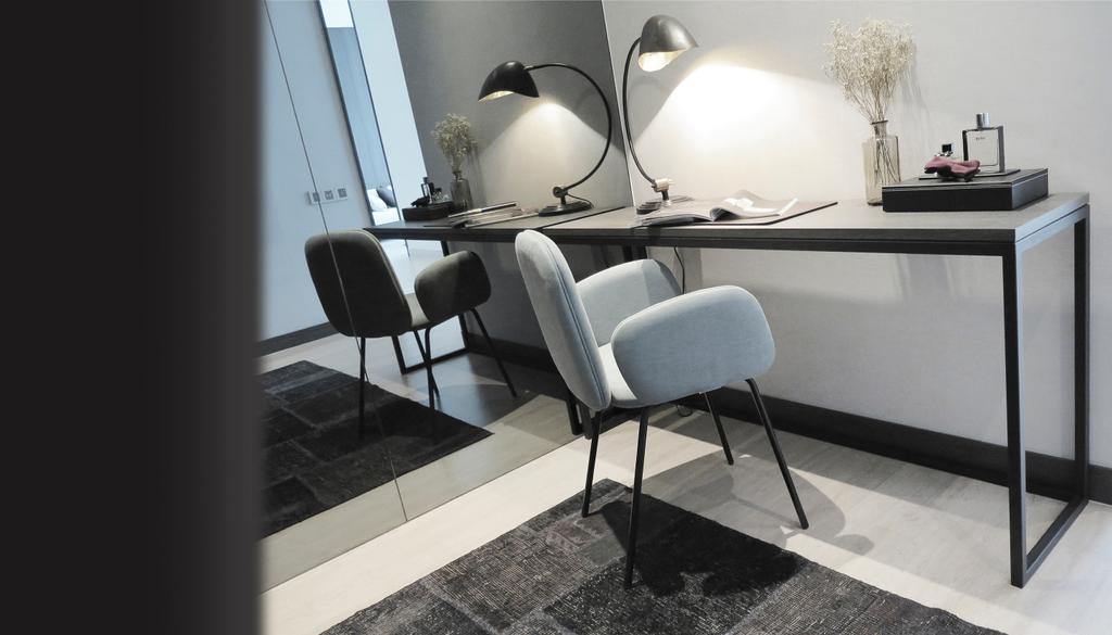 Contemporary, Condo, Study, Green Haven Show Suite B, Malaysia, Architect, 0932 Design Consultants, Study Desk, Work Desk, Rug, Mirror, Task Lighting, Chair, Furniture, Dining Table, Table