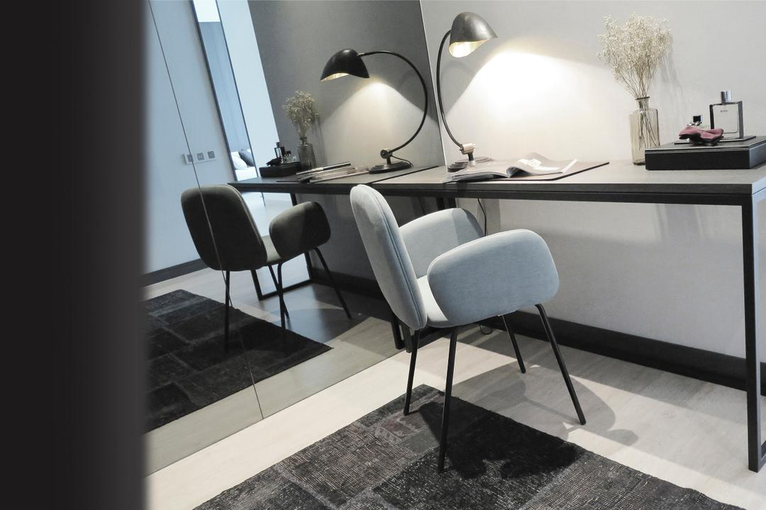 Green Haven Show Suite B, Malaysia, 0932 Design Consultants, Contemporary, Study, Condo, Study Desk, Work Desk, Rug, Mirror, Task Lighting, Chair, Furniture, Dining Table, Table