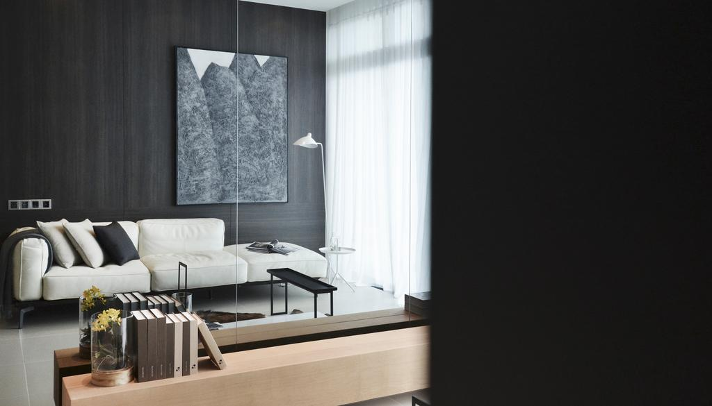 Contemporary, Condo, Living Room, Green Haven Show Suite B, Malaysia, Architect, 0932 Design Consultants, Wall Art, Floor Lamp, Night Curtain, Day Curtain, Coffee Table, Sofa, Cushion, Console, Curtain, Home Decor, Indoors, Room