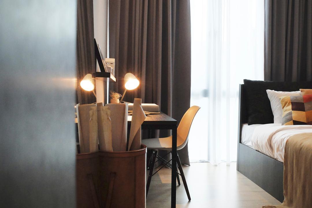 Green Haven Show Suite B, Malaysia, 0932 Design Consultants, Contemporary, Bedroom, Condo, Chair, Furniture, Sunlight