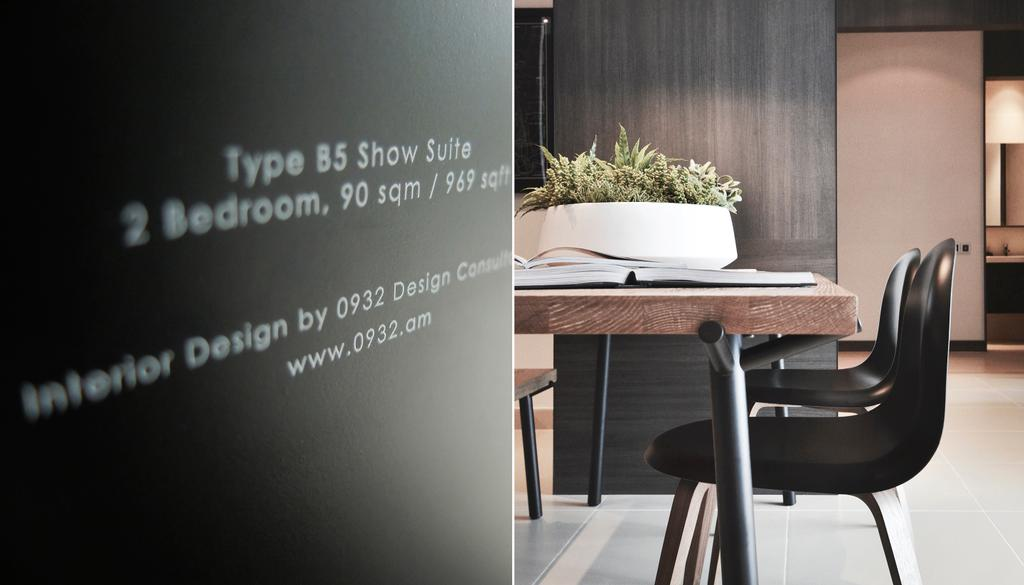 Contemporary, Condo, Dining Room, Green Haven Show Suite B, Malaysia, Architect, 0932 Design Consultants, Wooden Table, Steel Legs, Table Chair, Tiles, Potted Plant, Chair, Furniture, Blackboard, Flora, Jar, Plant, Pottery, Vase, Bonsai, Tree, Dining Table, Table