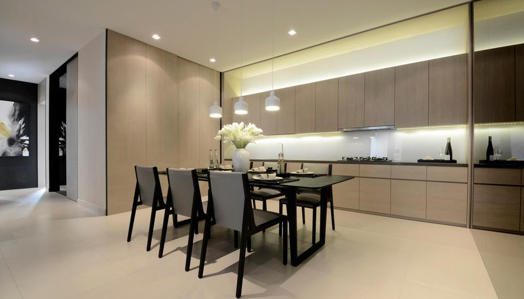 Modern, Condo, Dining Room, Green Haven Show Suite C, Malaysia, Architect, 0932 Design Consultants, Dining Table, Furniture, Table, Chair, Indoors, Interior Design, Room, Bar Stool