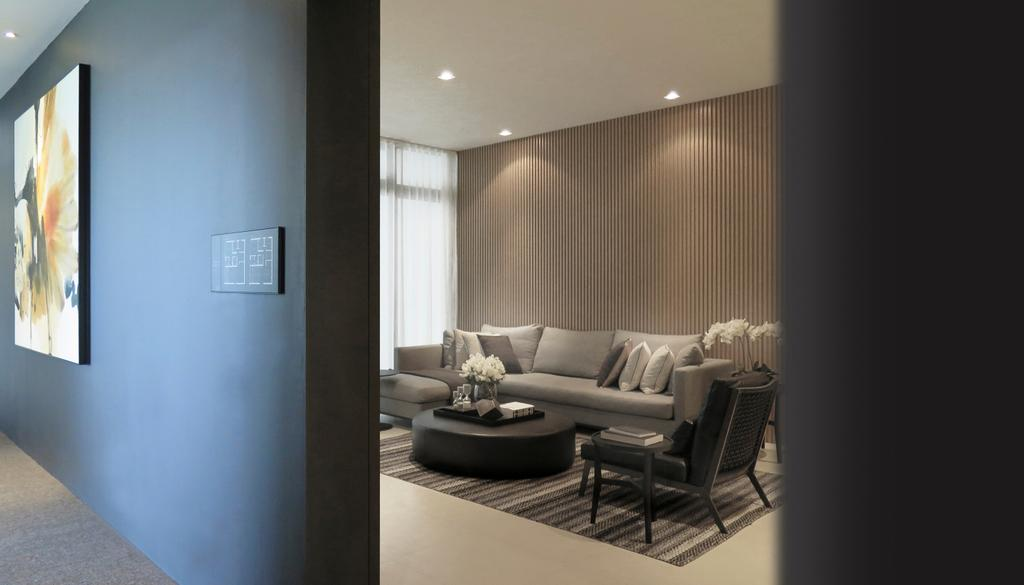 Modern, Condo, Living Room, Green Haven Show Suite C, Malaysia, Architect, 0932 Design Consultants, Couch, Furniture, Coffee Table, Table, Chair, Indoors, Interior Design, HDB, Building, Housing, Loft
