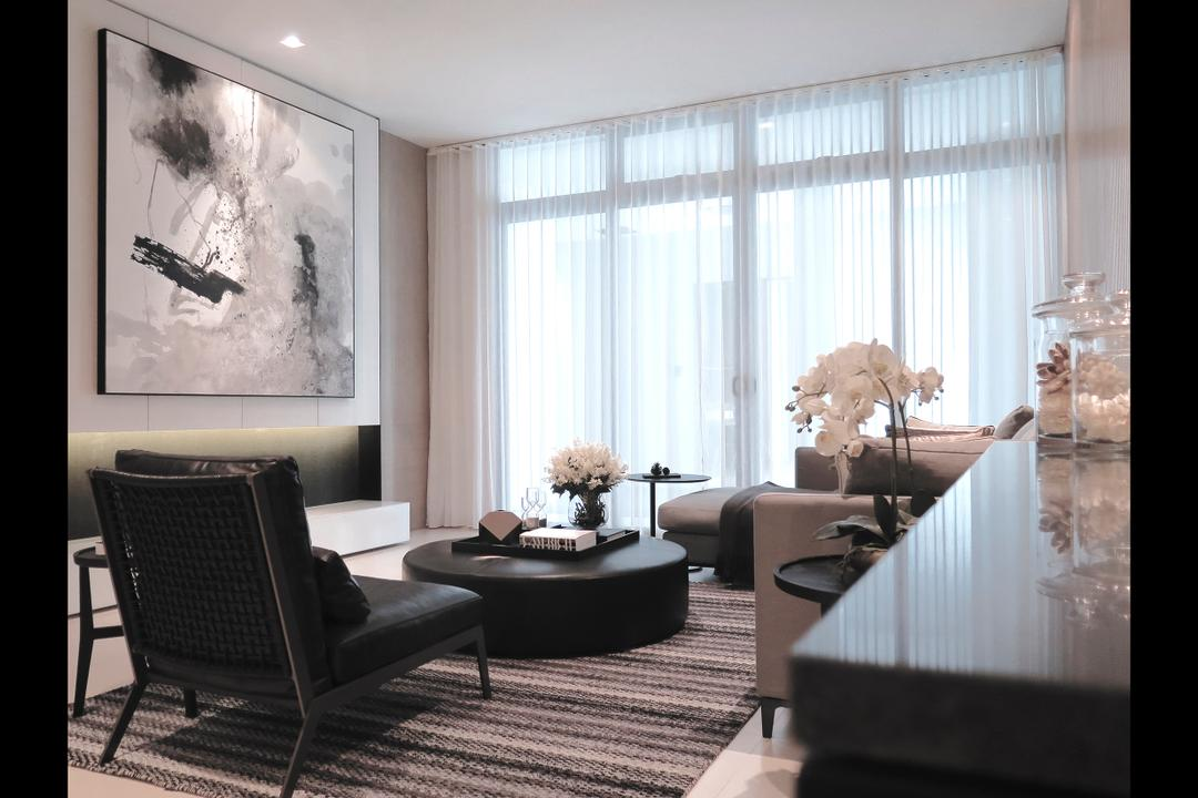 Green Haven Show Suite C, Malaysia, 0932 Design Consultants, Modern, Living Room, Condo, Wall Art, Art Frame, Curtain, Rug, Carpet, Curtains, Spotilght, Beige, Neutrals, Hotel, Showroom, Suite, Flower Decor, Flora, Jar, Plant, Potted Plant, Pottery, Vase, Chair, Furniture, Dining Room, Indoors, Interior Design, Room