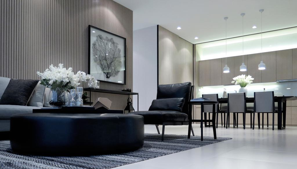 Modern, Condo, Living Room, Green Haven Show Suite C, Malaysia, Architect, 0932 Design Consultants, Dining Table, Furniture, Table, Couch, Chair, Dining Room, Indoors, Interior Design, Room