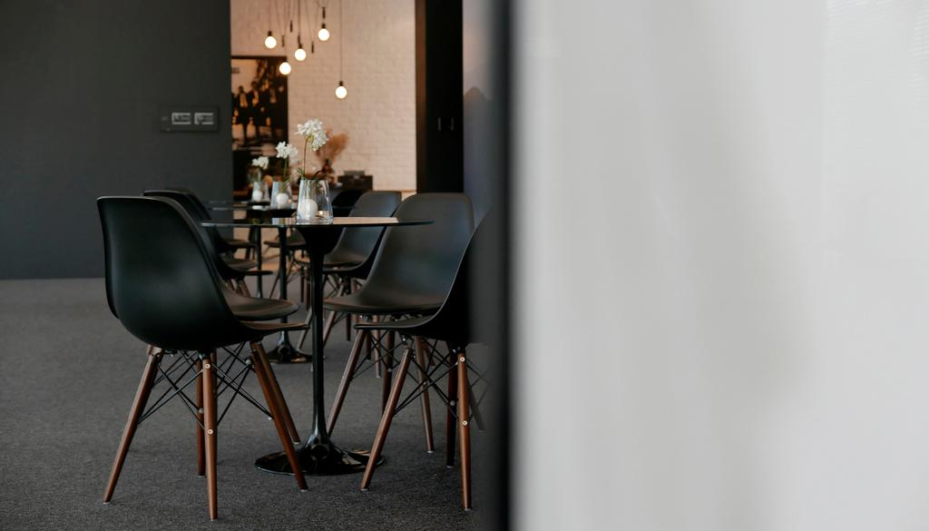 Green Haven Sales Gallery, Malaysia, Commercial, Architect, 0932 Design Consultants, Modern, Eames Chair, Round Table, Coffee Reception, Hanging Lights, Chair, Furniture, Dining Table, Table, Dining Room, Indoors, Interior Design, Room