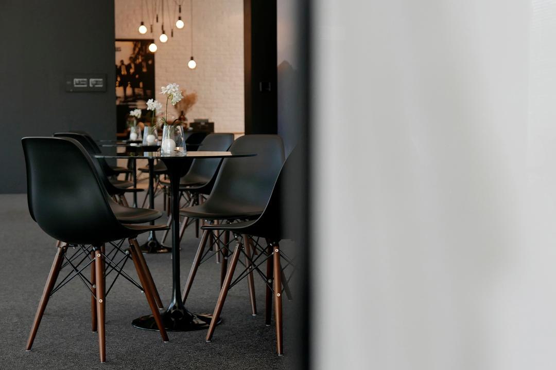 Green Haven Sales Gallery, Malaysia, 0932 Design Consultants, Modern, Commercial, Eames Chair, Round Table, Coffee Reception, Hanging Lights, Chair, Furniture, Dining Table, Table, Dining Room, Indoors, Interior Design, Room