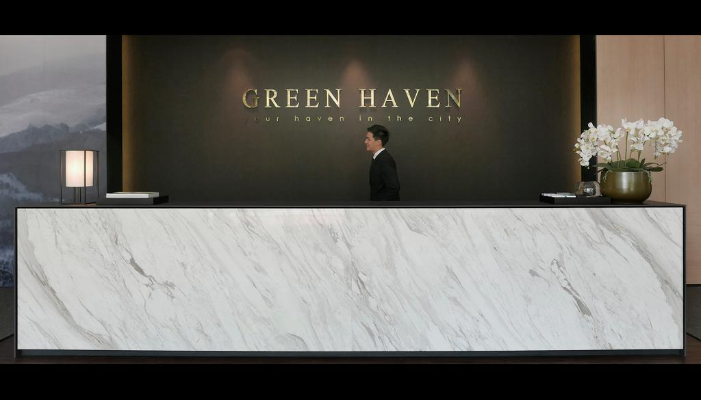 Green Haven Sales Gallery, Malaysia, Commercial, Architect, 0932 Design Consultants, Modern, Marble Counter, Surface, Flower Decor, Backdrop, Reception, Counter, Flora, Jar, Plant, Potted Plant, Pottery, Vase