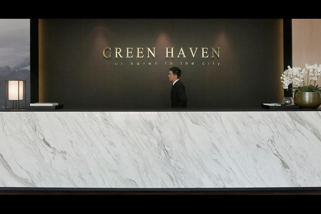 Green Haven Sales Gallery, Malaysia, 0932 Design Consultants, Modern, Commercial, Marble Counter, Surface, Flower Decor, Backdrop, Reception, Counter, Flora, Jar, Plant, Potted Plant, Pottery, Vase