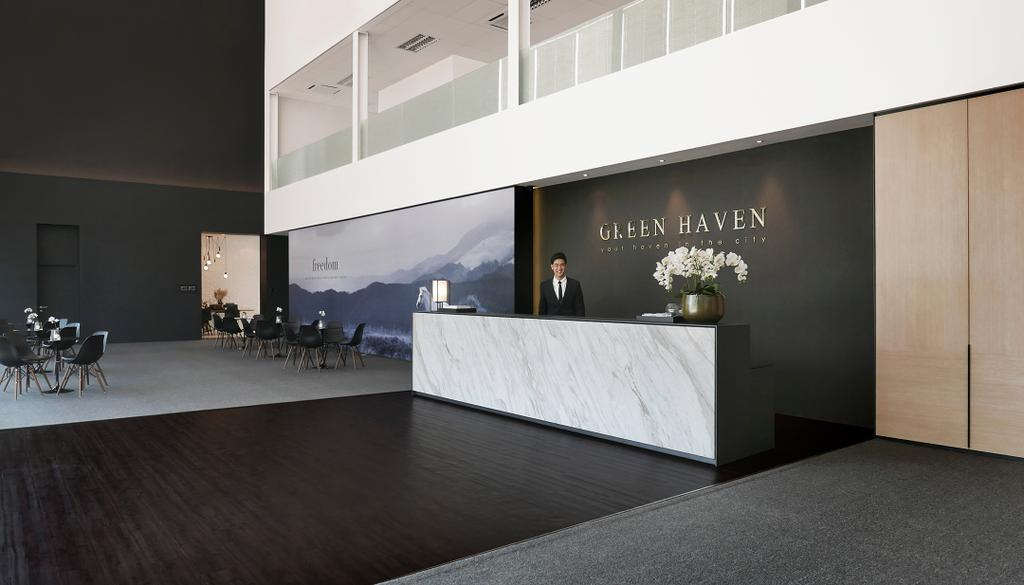 Green Haven Sales Gallery, Malaysia, Commercial, Architect, 0932 Design Consultants, Modern, Reception, Entrance, Counter, Marble Surface, Flower Decor, Wood Panel, Flora, Jar, Plant, Potted Plant, Pottery, Vase, Furniture, Flooring, Collage, Poster