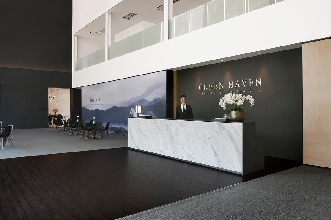 Green Haven Sales Gallery, Malaysia, 0932 Design Consultants, Modern, Commercial, Reception, Entrance, Counter, Marble Surface, Flower Decor, Wood Panel, Flora, Jar, Plant, Potted Plant, Pottery, Vase, Furniture, Flooring, Collage, Poster