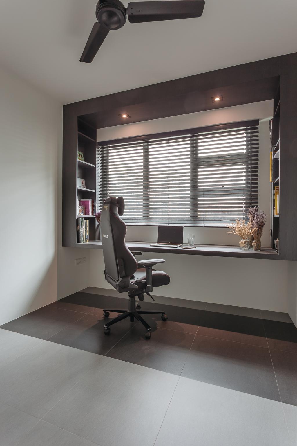 Modern, HDB, Study, Upper Serangoon Crescent (Block 473A), Interior Designer, Habit, Minimalistic, Chair, Furniture, Flora, Jar, Plant, Potted Plant, Pottery, Vase
