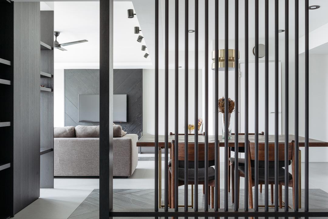 Upper Serangoon Crescent (Block 473A), Habit, Modern, Minimalistic, Dining Room, HDB, Partition, Prison, Chair, Furniture, Door, Folding Door, Closet, Wardrobe