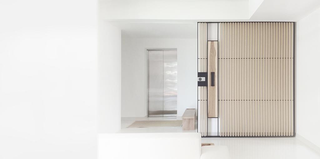 Minimalist, Condo, Living Room, D'Almira, Architect, 0932 Design Consultants, Gate, Entrance, Foyer, Sliding Door, Divider, Door