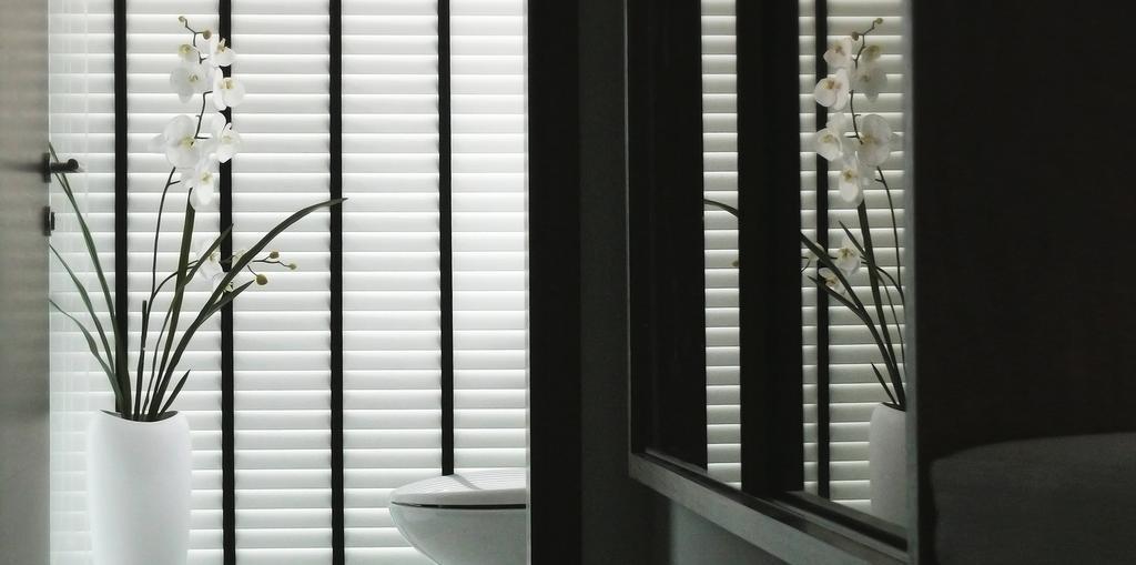 Minimalist, Condo, Bathroom, D'Almira, Architect, 0932 Design Consultants, Venetian Blinds, Flower, Reflective Surface, Flowers, Vase, Water Closet, Bidet