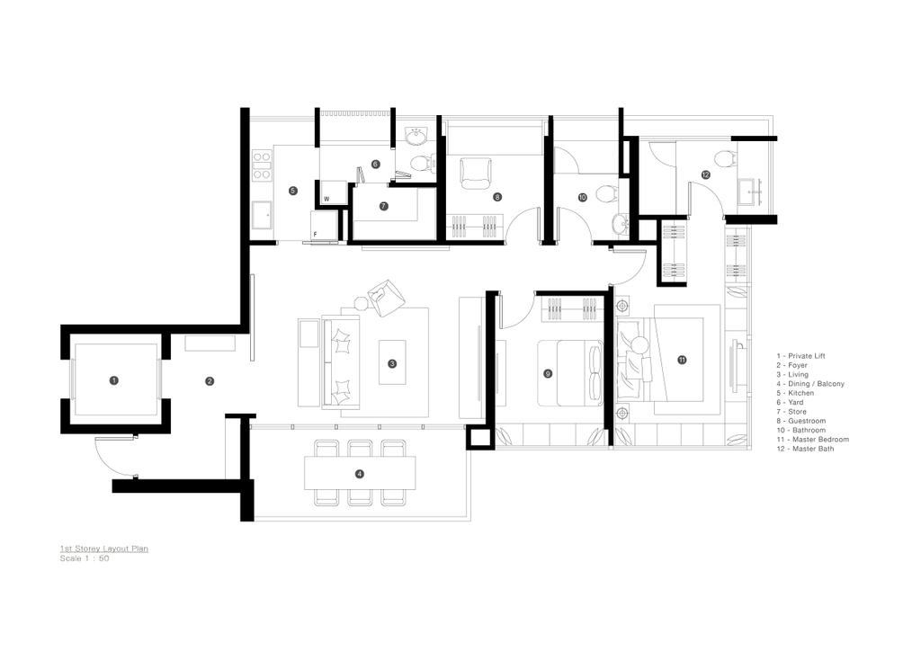 Minimalist, Condo, D'Almira, Architect, 0932 Design Consultants, Floor Plan, Diagram, Plan
