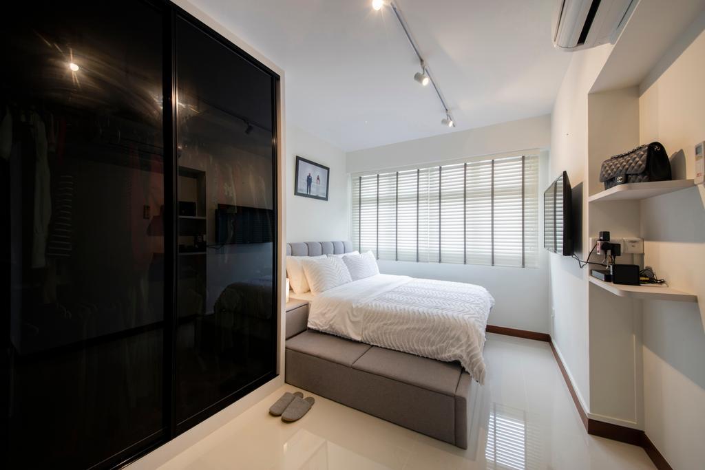 Contemporary, HDB, Bedroom, Choa Chu Kang (Block 810B), Interior Designer, Meter Square, Minimalistic, Electronics, Monitor, Screen, Tv, Television, Indoors, Interior Design, Furniture, Reception, Room
