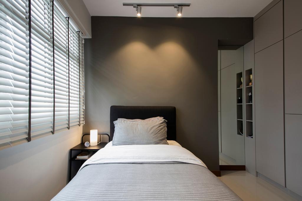 Contemporary, HDB, Bedroom, Choa Chu Kang (Block 810B), Interior Designer, Meter Square, Minimalistic, Bed, Furniture, Indoors, Interior Design, Room