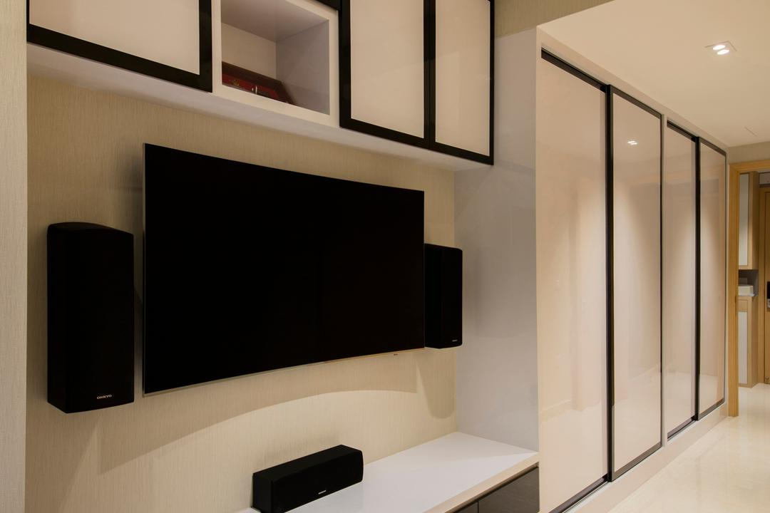 La Fiesta, Space Define Interior, Contemporary, Living Room, Condo, Indoors, Interior Design, Shelf, Electronics, Entertainment Center, Loudspeaker, Speaker, Fireplace, Hearth