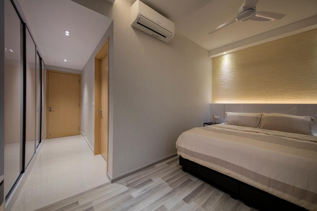La Fiesta, Space Define Interior, Contemporary, Bedroom, Condo, Bed, Furniture, Indoors, Interior Design, Air Conditioner, Corridor