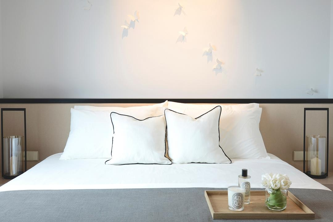 Evelyn, 0932 Design Consultants, Modern, Bedroom, Condo, Headboard, Wall Art, Bed Tray, Candles, Bed, Bed Runner, White Pillow, Comfortable, Hotel, Suite, Jar, Pottery, Vase, Indoors, Interior Design