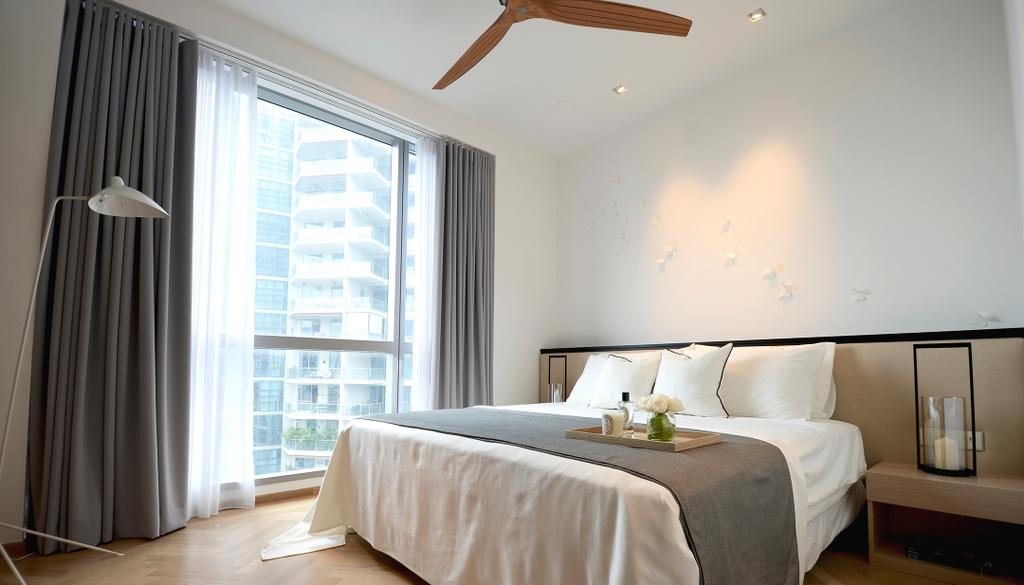 Modern, Condo, Bedroom, Evelyn, Architect, 0932 Design Consultants, Curtains, Bedside Table, Bed, Duvet, Pillow, Candle, Bed Runner, Floor Lamp, Wooden Flooring, Curtain, Home Decor, Indoors, Interior Design, Room